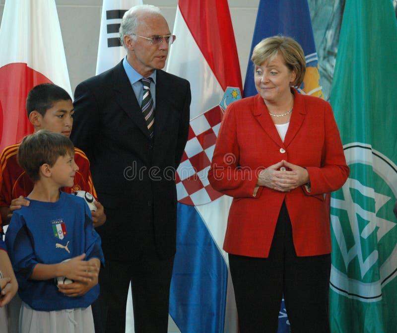 Franz Beckenbauer, Angela Merkel lizenzfreies stockbild