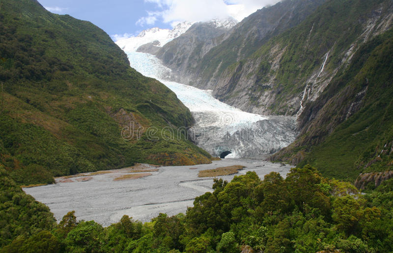 Franz Joef Glacier in Nieuw Zeeland stock afbeeldingen