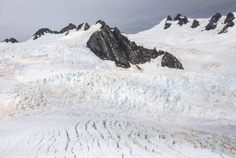 Franz Josef glaciär från övre sikt royaltyfria bilder