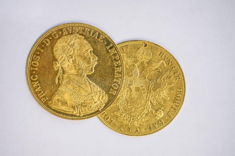 Franz Joseph I, Austro-ungarische goldene Dukate ab 1915 lizenzfreie stockbilder