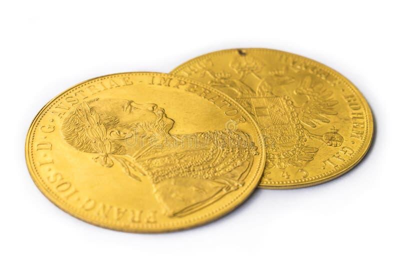 Franz Joseph I, Austro-ungarische goldene Dukate ab 1915 stockbild