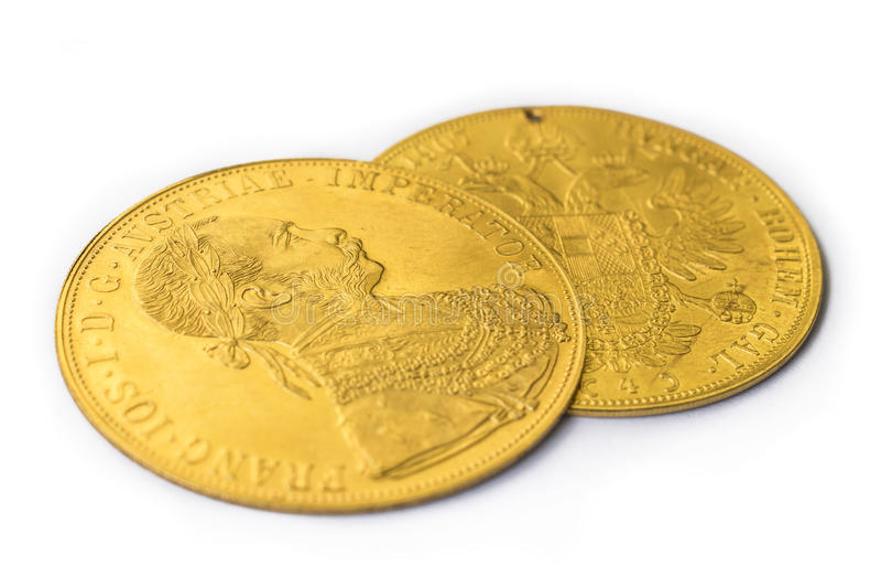 Franz Joseph I, ducados de oro austrohúngaros a partir de 1915 imagen de archivo