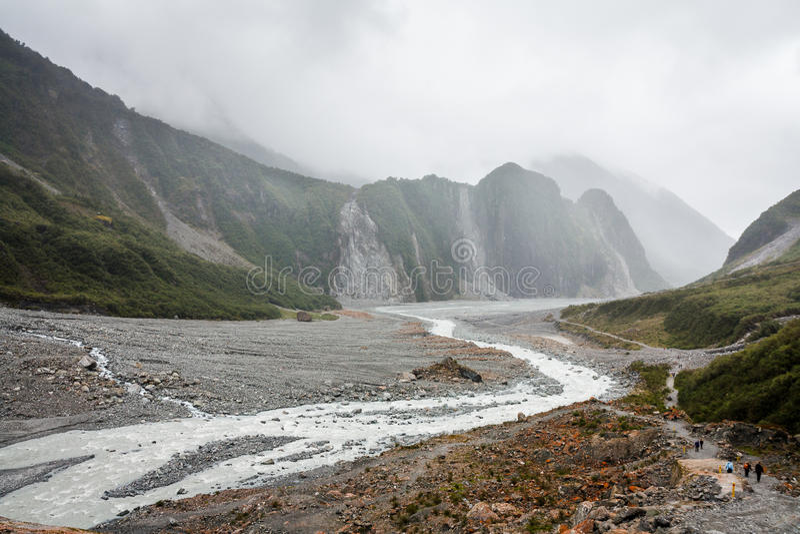 Franz Joseph lodowa rzeki pasek fotografia stock