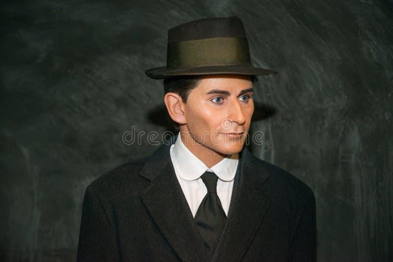 Franz Kafka i det Grevin museet av vaxdiagramen i Prague royaltyfria foton