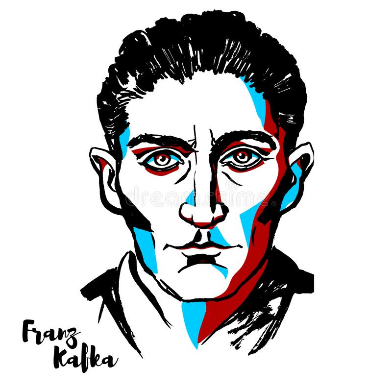 Franz Kafka Portrait illustration libre de droits