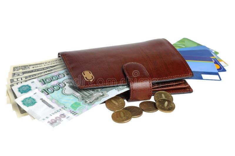 Franza com os cartões do dinheiro e de crédito isolados no fundo branco fotografia de stock