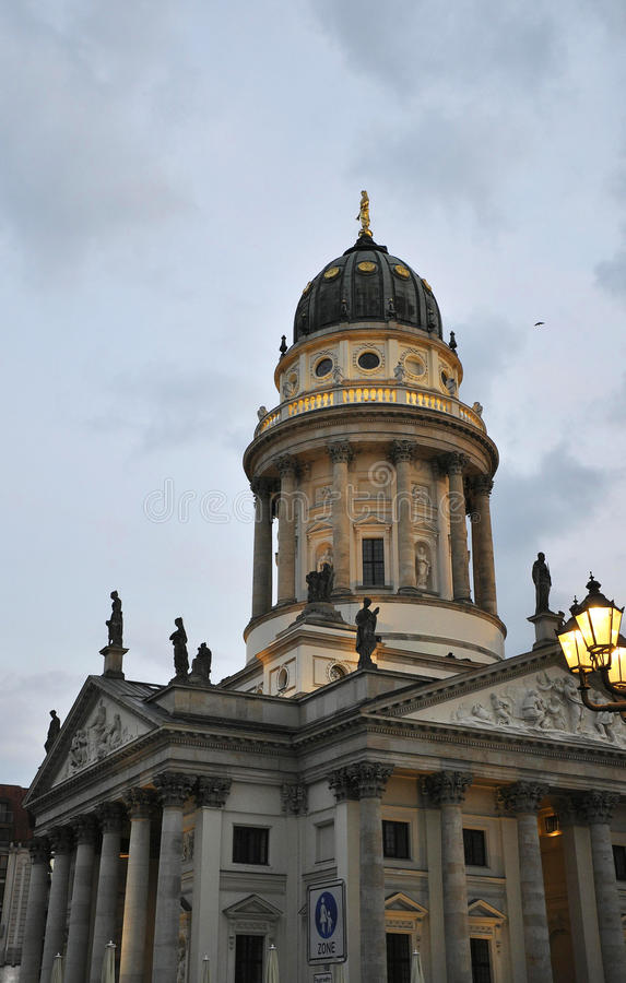 Franzosischer Dome in the evening from Berlin in Germany stock photo