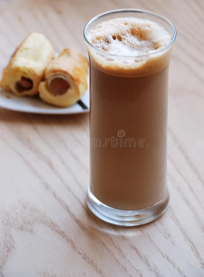 Frape coffee and snacks royalty free stock photo