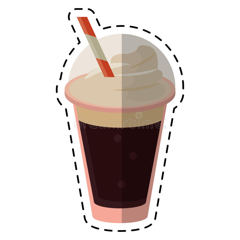 Frappe coffee straw take out container - dot line. Vector illustration eps 10 stock illustration