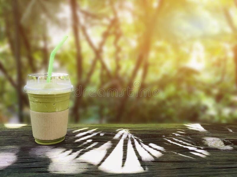 Frappe del t? verde y mezclado Bebida dulce imagen de archivo