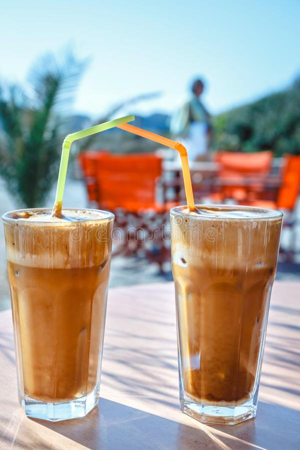 Frappe do café, culinária grega na tabela foto de stock royalty free