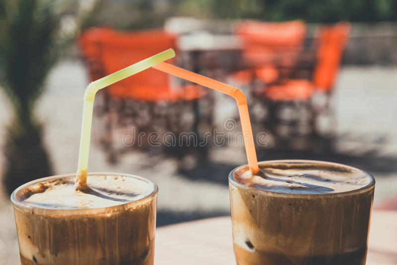 Frappe do café, olhar do vintage foto de stock royalty free