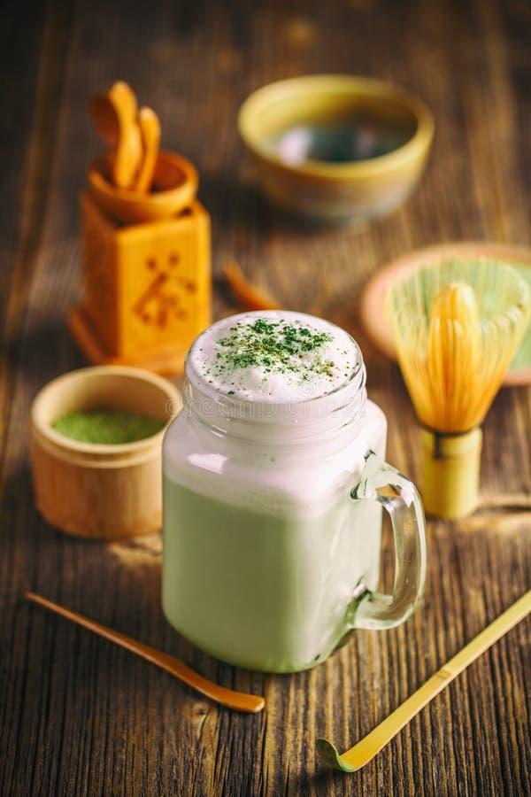 Frappe för grönt te arkivfoto