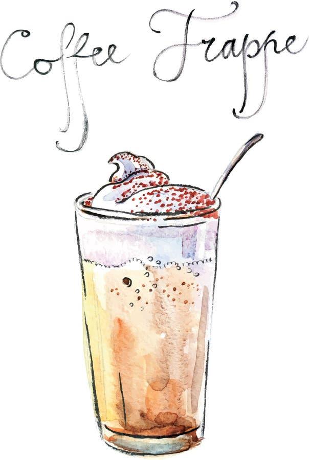 Frappe för vattenfärgvektorkaffe stock illustrationer