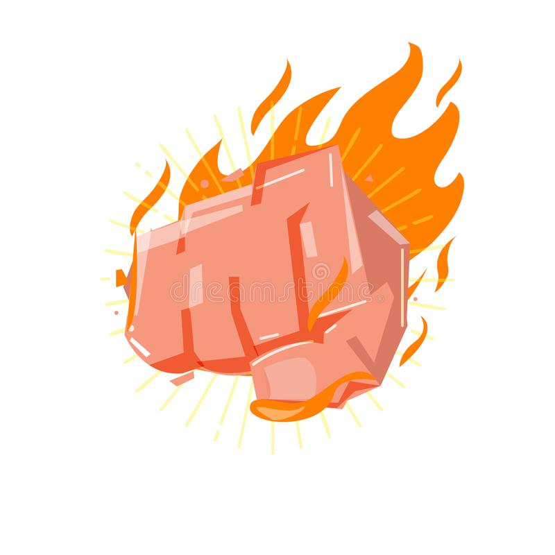 Frapper la main de poing avec le feu puissance et concept fort - vecteur illustration de vecteur
