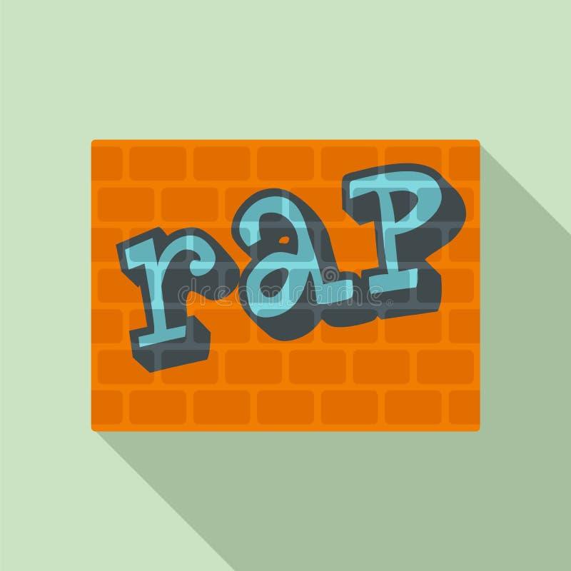 Frappez sur l'icône de mur de briques, style plat illustration stock