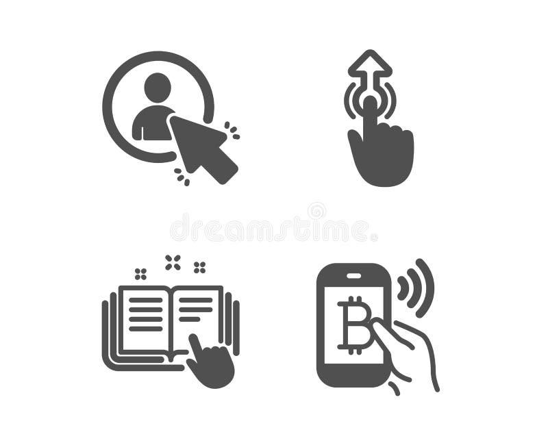 Frappez ? toute vol?e, utilisateur et ic?nes techniques de documentation Signe de salaire de Bitcoin Technologie de contact, chef illustration stock