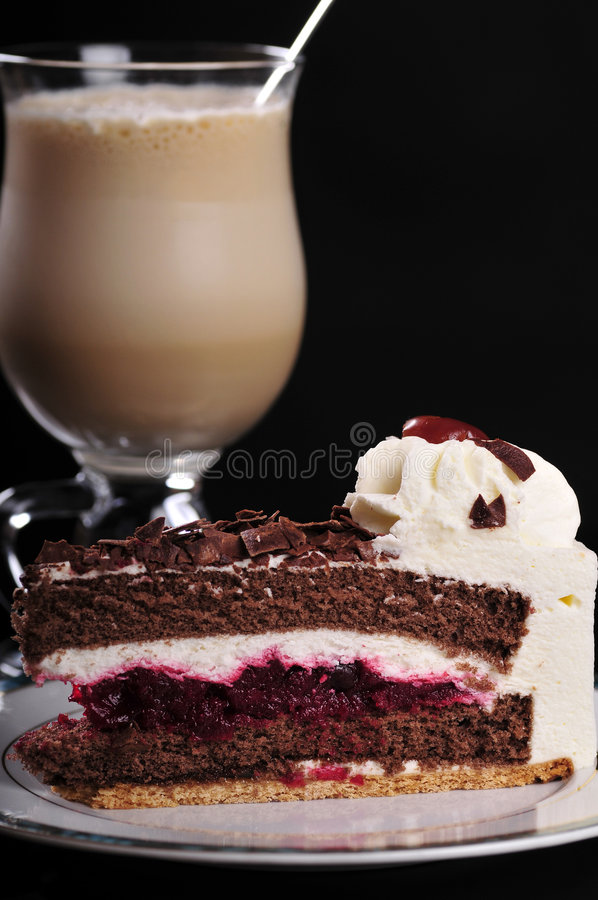 Frappuccino with cake stock images