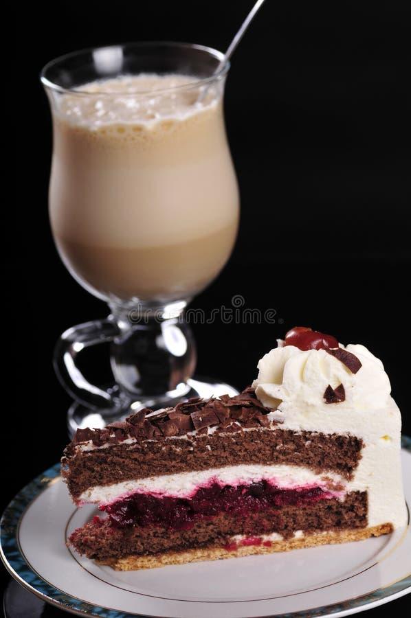 Frappuccino con la torta fotografia stock