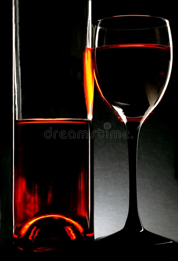 Frasco & vidro de vinho imagens de stock