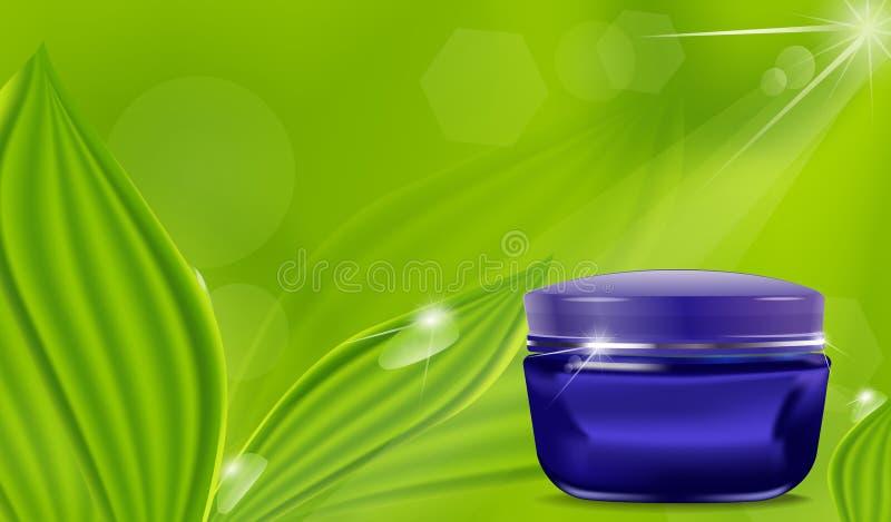 Frasco azul do vetor com um creme cosmético ilustração royalty free