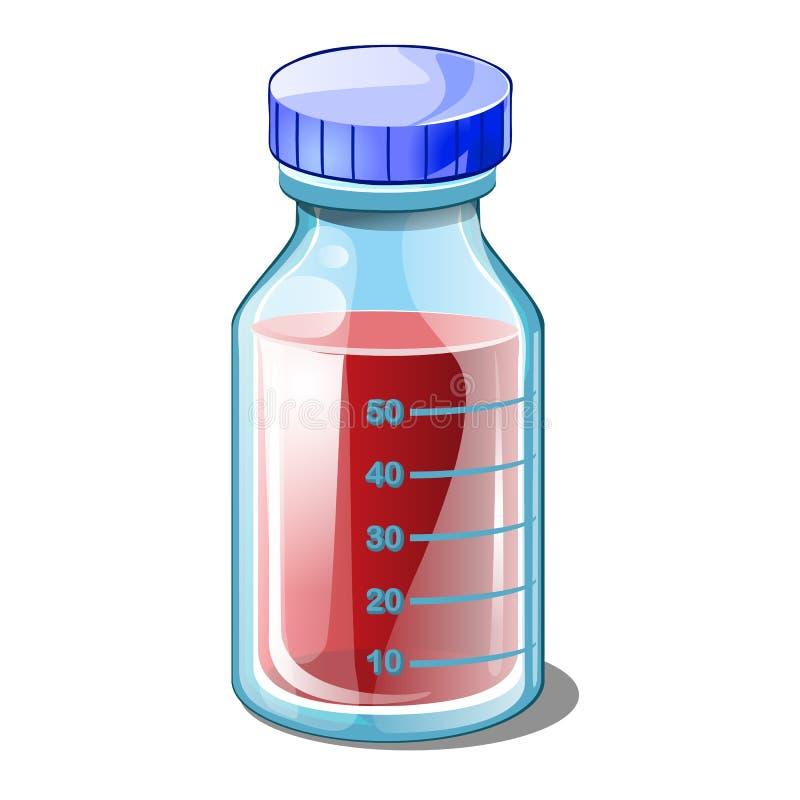 Frasco cerrado con sangre Concepto de los exámenes médicos libre illustration