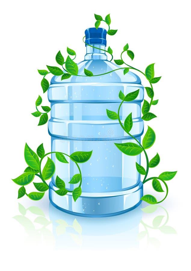 Frasco com água azul limpa e folha verde ilustração royalty free