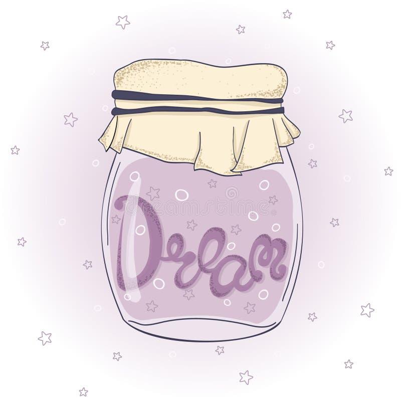 Frasco com sonho, estrelas e bolhas lettering Vetor eps10 ilustração stock