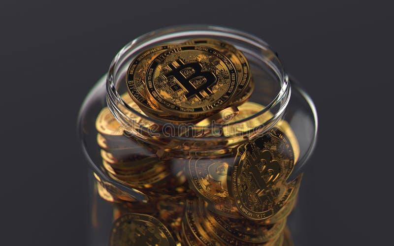 Frasco completamente dos bitcoins Conceito criativo da carteira virtual rendição 3d ilustração do vetor