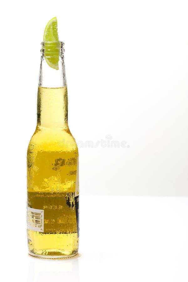 Frasco da cerveja com cal fotos de stock