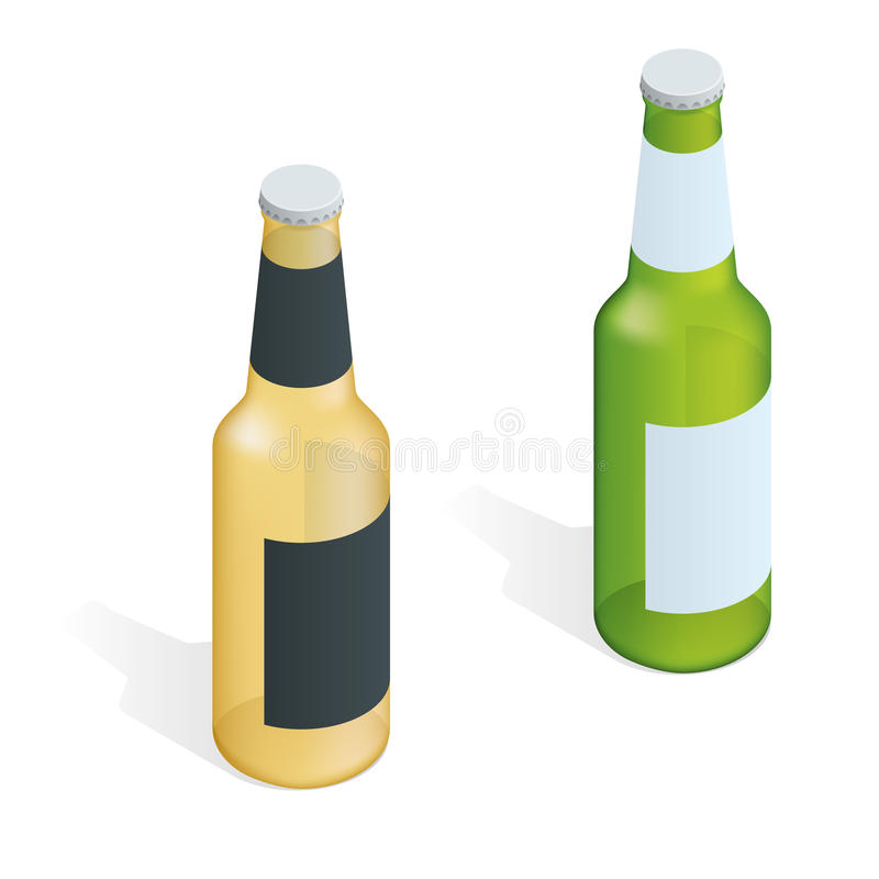 Frasco da cerveja com gotas Ilustração isométrica do vetor 3d liso ilustração do vetor