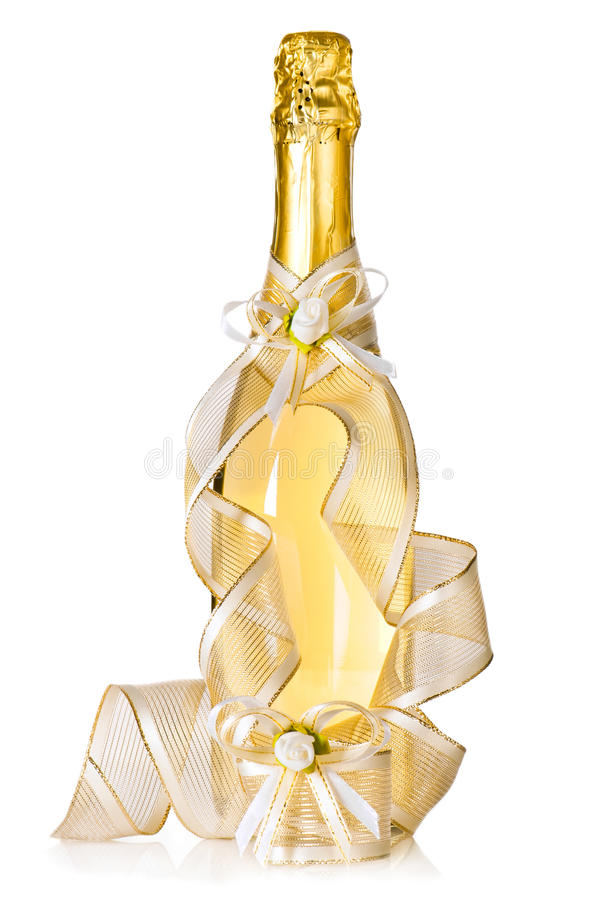Frasco da decoração do champanhe e do casamento imagem de stock royalty free