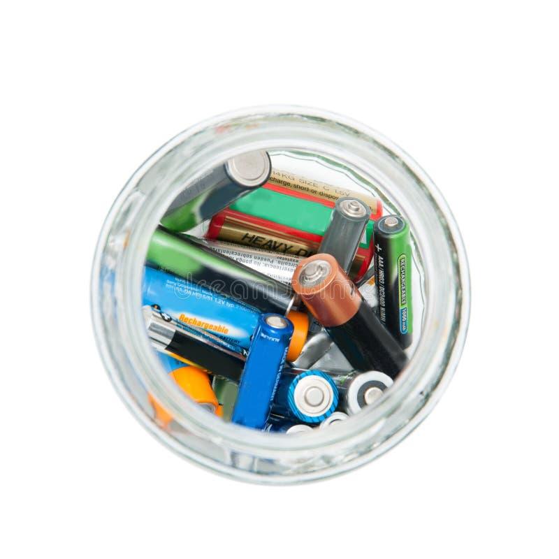 Frasco de baterias usado imagem de stock