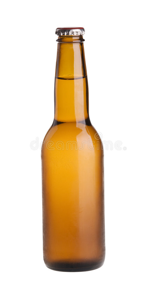 Frasco de cerveja clara do álcool isolado sobre o branco. imagens de stock