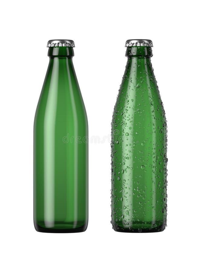 Frasco de cerveja verde vazio ilustração stock