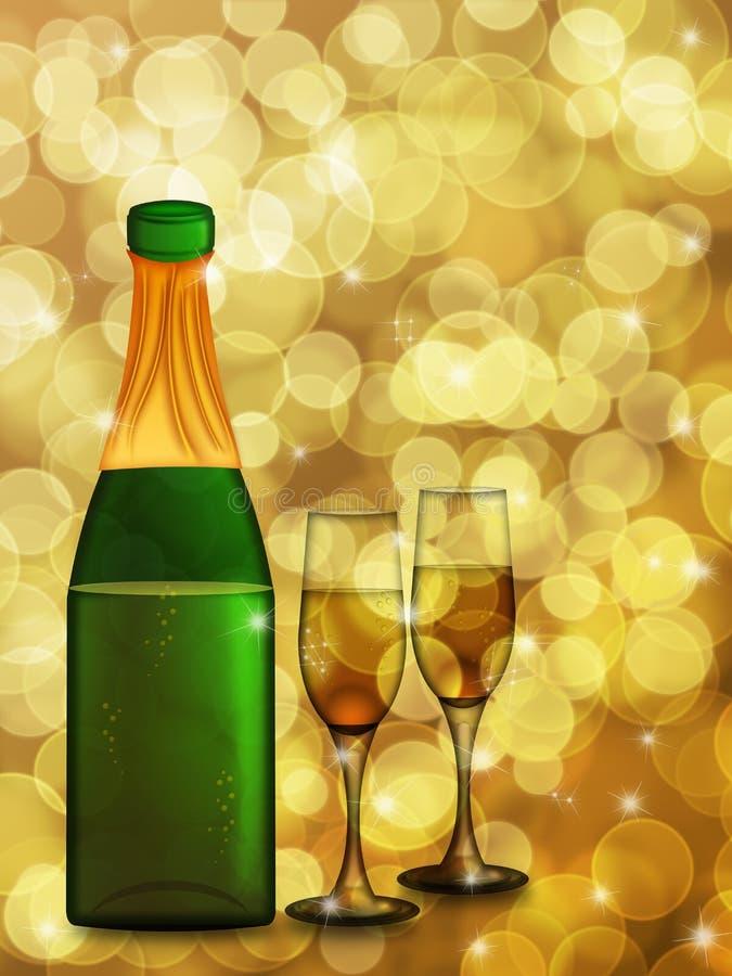 Frasco de Champagne e duas flautas de vidro ilustração stock