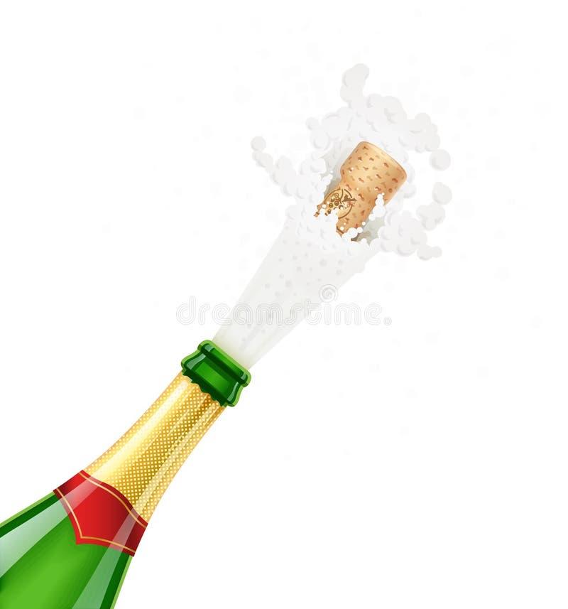 Frasco de Champagne Exploda a bebida francesa tradicional do álcool ilustração do vetor