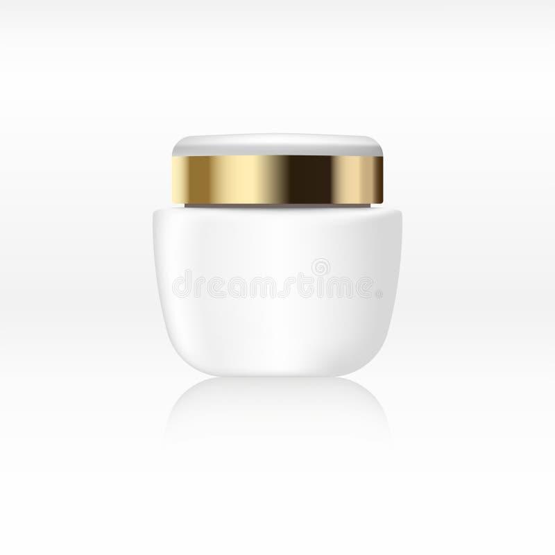 Frasco de creme branco claro com o copo do metal do ouro, recipiente para produtos cosméticos no fundo abstrato para o anúncio Zo ilustração do vetor