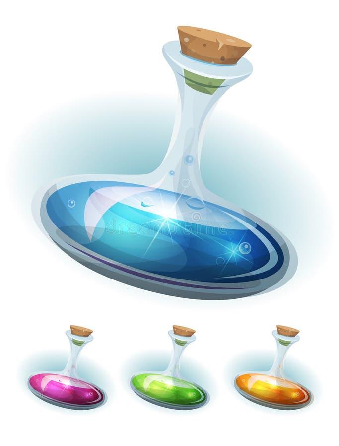 Frasco de la poción mágica con el elixir para el juego Ui ilustración del vector