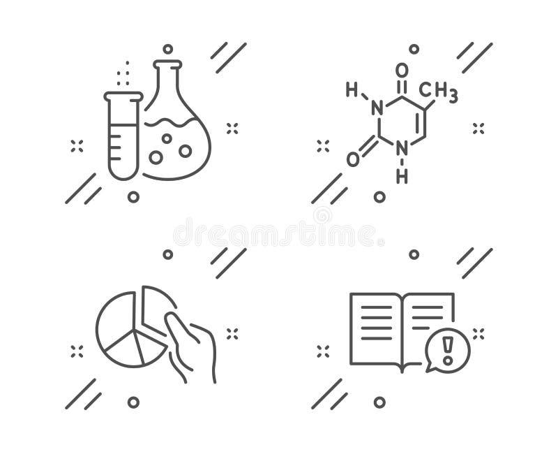 Frasco de la química, gráfico de sectores y sistema de los iconos de la fórmula química Los hechos firman Vector ilustración del vector
