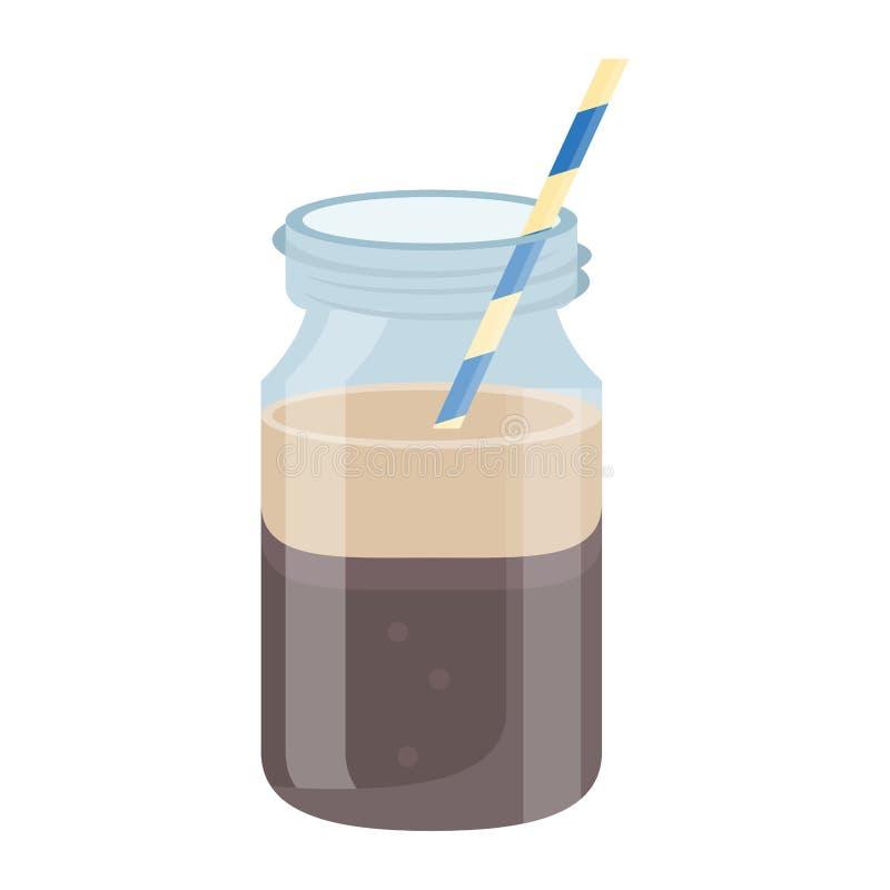 Frasco de pedreiro frio da bebida do café ilustração do vetor