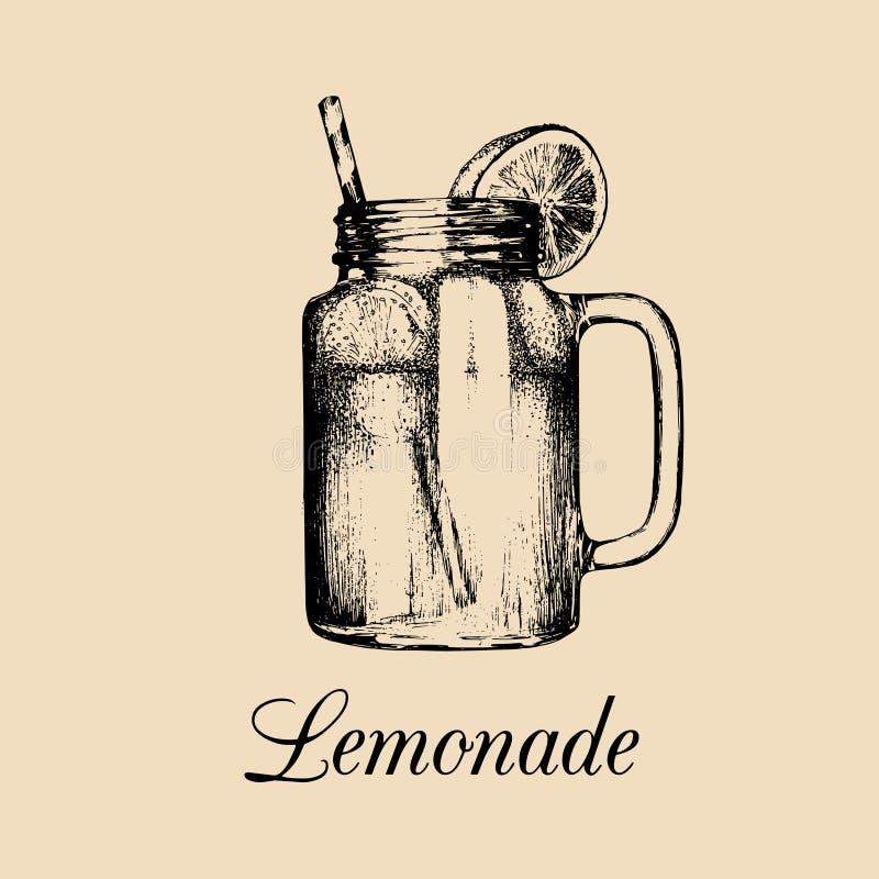 Frasco de pedreiro isolado Vector a limonada em casa feita com palha e fatia de ilustração do limão Esboço tirado mão do refresco ilustração do vetor
