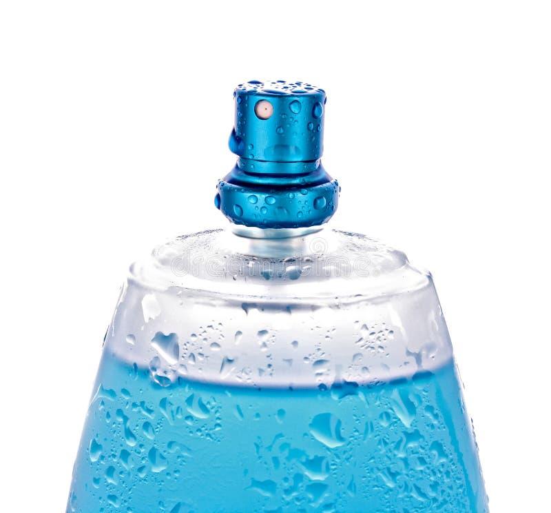 Frasco de perfume azul imagens de stock royalty free