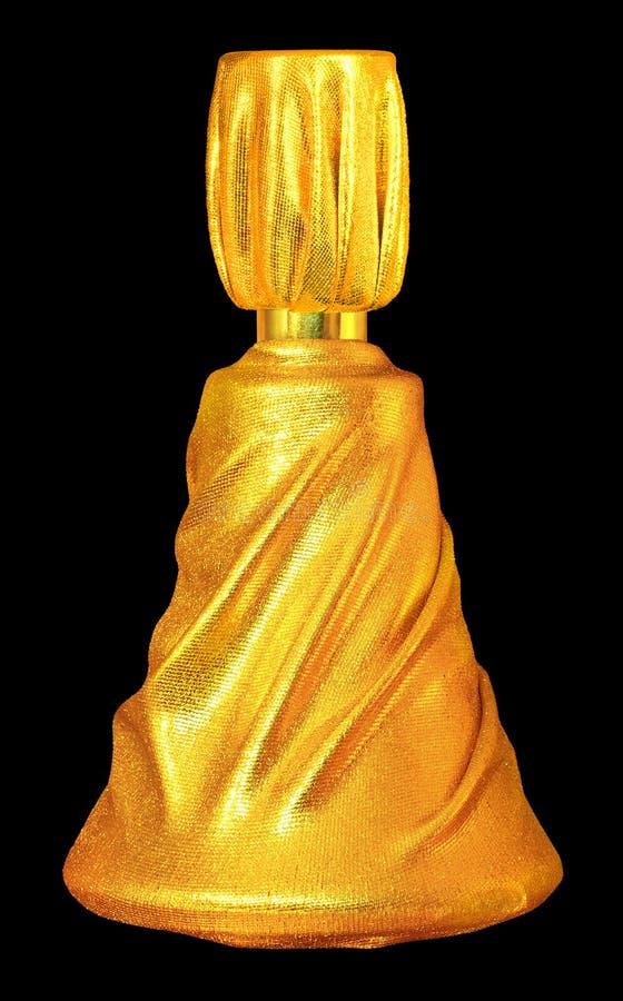Frasco de perfume dourado. imagem de stock