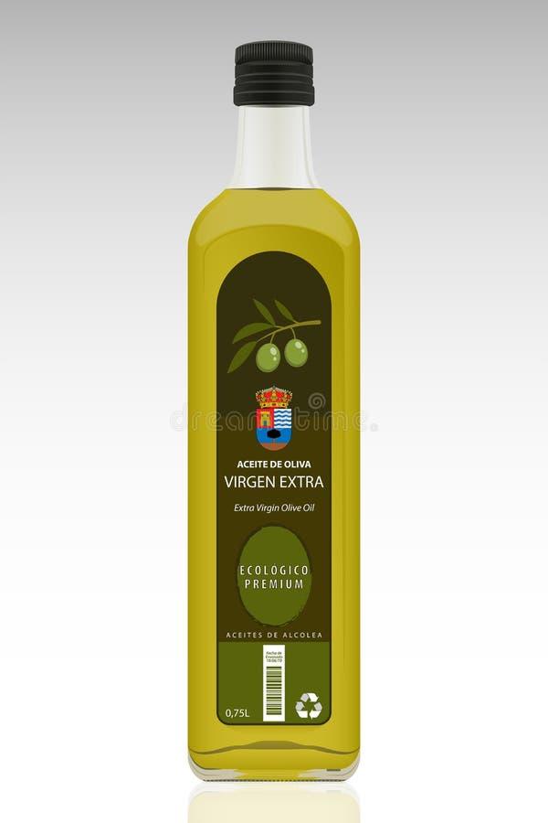 Frasco de petr?leo verde-oliva virgem extra ilustração do vetor