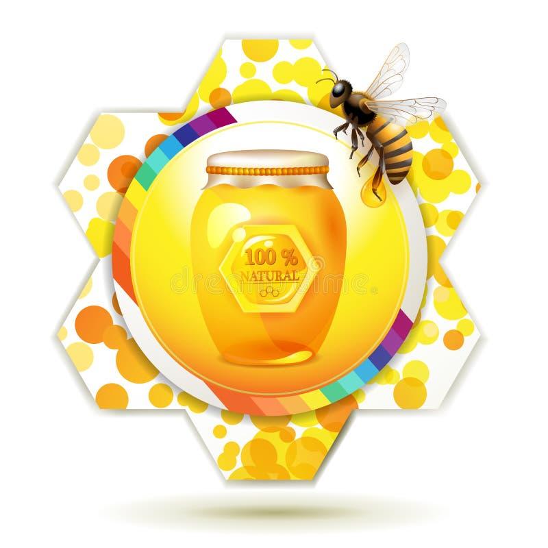 Frasco de vidro com abelha ilustração stock