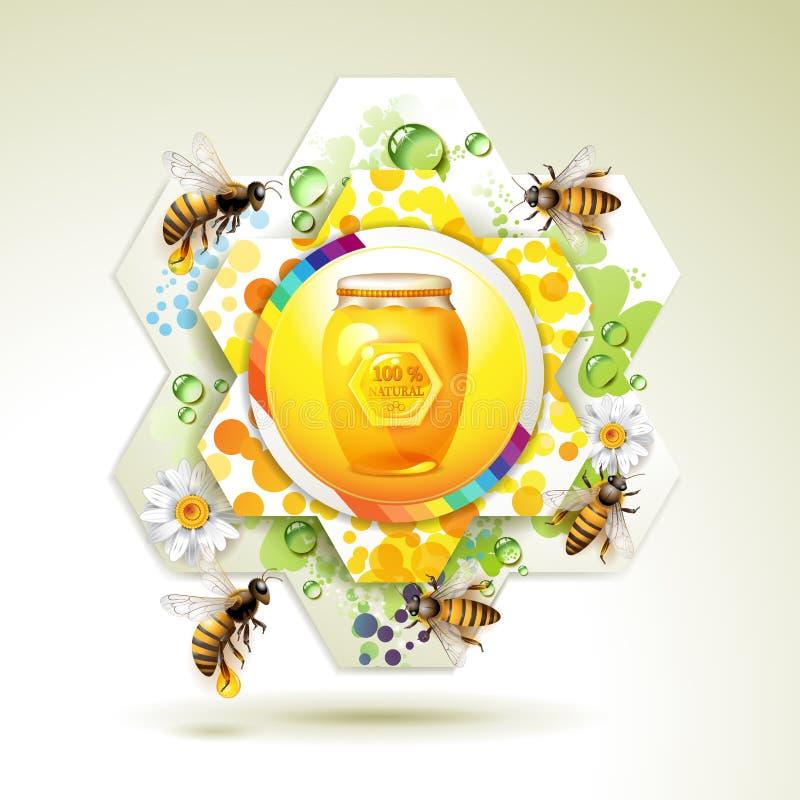 Frasco de vidro com abelhas ilustração royalty free