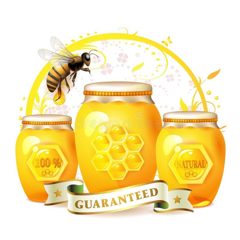 Frasco de vidro com mel ilustração stock
