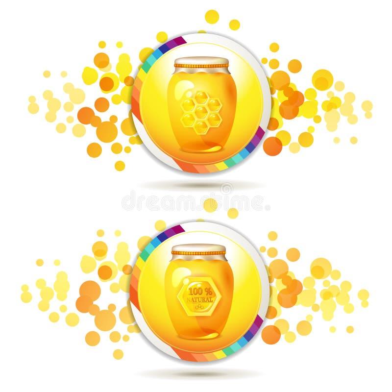 Frasco de vidro com mel ilustração do vetor