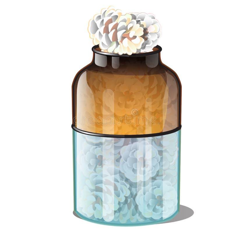 Frasco de vidro com os cones do pinho cobertos com a geada isolado no fundo branco Estilo realístico Atributos do ano novo ilustração royalty free